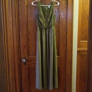 Olive green long maxi dress with pockets